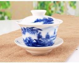 Sado China Traditional Blue and White Porcelain Large Gaiwan