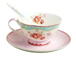 Jsaron China Vintage Rose Porcelain Tea Cup Spoon and Saucer