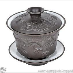 China yixing zisha purple clay gaiwan white glaze porcelain