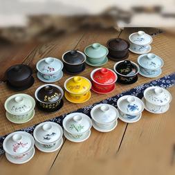 China/zisha gaiwan tea bowl lid saucer tureen blue-and-white