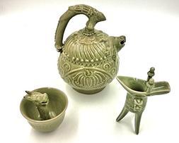 Chinese Ancient Magic Bottom-Filling Porcelain Teapot Set
