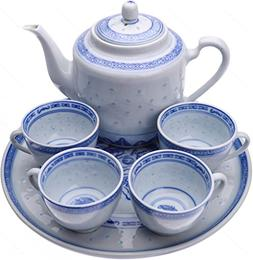 Chinese Blue and White Rice Pattern Tea Set for 4 - porcelai