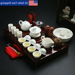 Chinese Ceramic Kung Fu Tea Set With Wooden Tea Tray And Sma