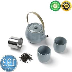 Chinese Ceramic Tea-Set For 2 with Steeper, Gift Box,TEANAGO