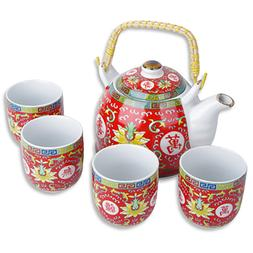 Chinese Design Character Red White Tea Pot and Cups Set Teas