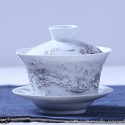 Chinese gaiwan tea cup tureen lid saucer snow view relief po