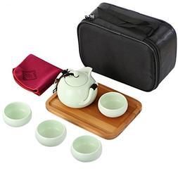 kilofly Chinese / Japanese Portable Tea Set - Teapot Cups Wo