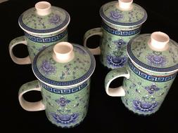 Chinese Jindezhen Porcelain Tea Coffee Cup Handled Infuser S