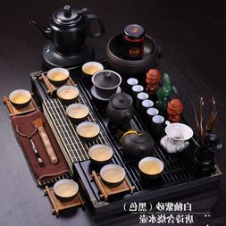 complete tea set electrical kettle solid wood tea tray horse