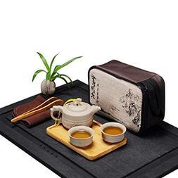Hoobar Chinese Kungfu Tea Set / Portable Travel Tea Set with