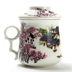 TEA SONG Chinese Tea-Mug with Infuser and Lid Mom Women dad,