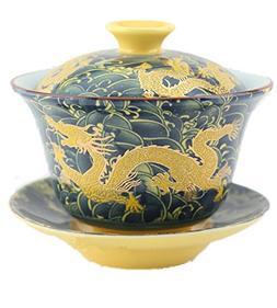 Moyishi Chinese Porcelain Gaiwan Dark Blue Dragon Tradition