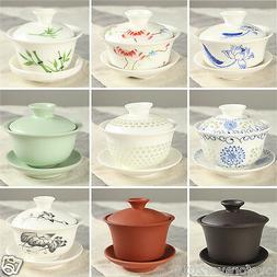 Chinese porcelain/zisha gaiwan covered teacup lid saucer cer