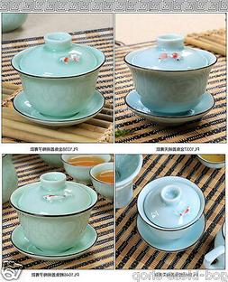 Chinese tea set porcelain gaiwan goldfish carp handmade fish