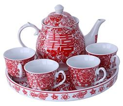 Greencherry Chinese Traditional Red Tea Set For Wedding Mand