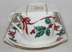 Roy Kirkham Christmas Ribbons Fine Bone China Cup & Saucer S