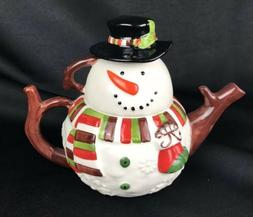 Christmas Tea For One Snowman Pier 1 Imports 3 pc Set Tea Po