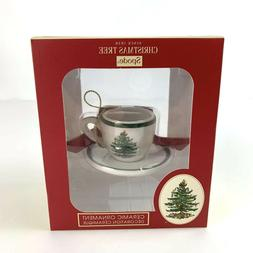 Spode Christmas Tree Tea Cup Saucer Ornament Ceramic Holiday