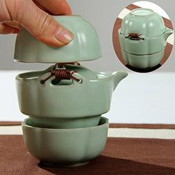XDOBO Set of 3 Classic Chinese Ru Ceramic Two-person Tea Set