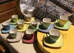 CLASSIC COFFEE & TEA 20 PIECE MULTI COLOR SET CUPS AND SAUCE