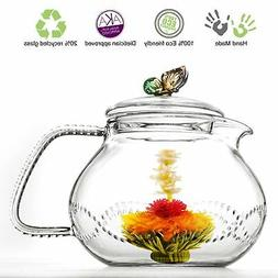 Tea Beyond Clear Glass Teapot Rainbow Butterfly 24 Oz/710Ml