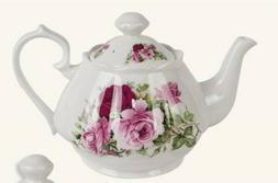 Victorian Trading Co Summer Rose Red & Pink Bone China Teapo