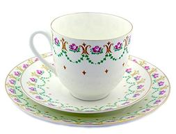 Coffee Cup Saucer and Desert Plate Set of 3 pcs Lomonosov Po