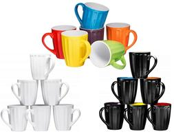 Coffee Cups Mugs Set of 6 Large-sized 16 Ounce Ceramic Groov
