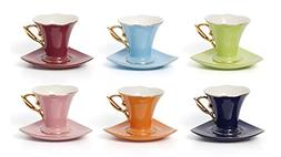 Euro Porcelain 12-pc Tea Cup Coffee Set Service for 6 - Coba