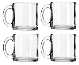 Coffee Mug Set of 4 Clear Glass Tea Chocolate Cups 16 Oz Dec