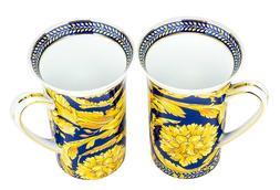 """Majestic Porcelain """"Gold Carnation"""" Coffee Mugs, Luxury Porc"""