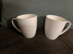 MIKASA Coffee Tea Cups White 12 oz. HUNTINGTON Quilted Bone