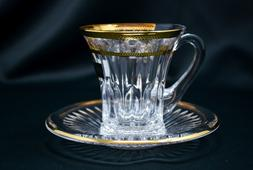Coffee Tea set of 1 Cup  +1 Saucer Gold Rimmed Crystal Glass