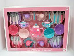 Circo Colorful Polka Dot Childrens Plastic Tea Set - 38 Piec