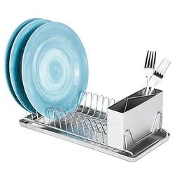 Compact Chrome Dish Drainer Rack With Stainless Steel Utensi