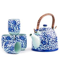 Contemporary Chinese Japanese Blue and White Tree Porcelain