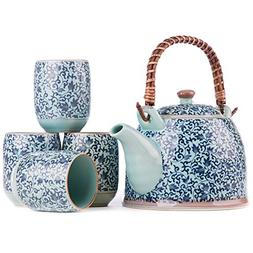 Contemporary Chinese and Japanese Oriental Blue Floral Four-