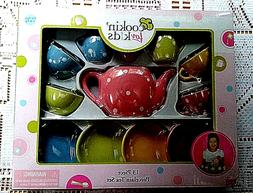 Cookin For Kids 13 Piece Porcelain Tea Set NEW!  POLKA DOTS