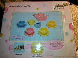 Cookin' For Kids 13 Piece Porcelain Tea Set NEW!  POLKA DOTS