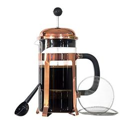 French Press Coffee Maker Thick Borosilicate Glass Bonuses;
