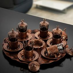 Copper Turkish Tea Set for Six People with Tray