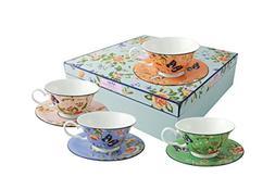 Belleek Cottage Garden Windsor Teacups and Saucer, Multicolo