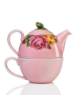 Royal Albert Country Rose Majolica Tea for One Pink, Three P
