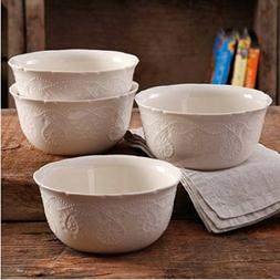 The Pioneer Woman Cowgirl Lace Transparent Glaze 4-Pack Bowl