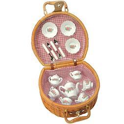 CP Toys 17 pc. Doll-size Ceramic Tea Set with Wicker Storage
