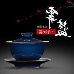 crackle glaze gaiwan tea bowl lid saucer tureen blue and por