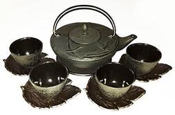 Happy Sales Crane Cast Iron Tea Set with a Trivet, 4 Cups an