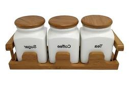 CREAM CERAMIC TEA COFFEE SUGAR JAR SET WITH BAMBOO LIDS AND