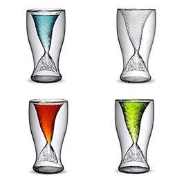 Creative Design Double-layer Transparent Mermaid Drinking Gl