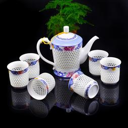 Creative Gift Exquisite Chinese Blue and White Hollow Honeyc